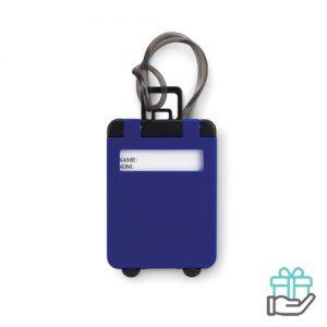 Kunststof bagagelabel koninklijk blauw bedrukken