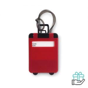 Kunststof bagagelabel rood bedrukken