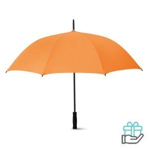 Luxe paraplu 27 inch oranje bedrukken