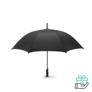 Luxe windbestendige paraplu pongee koninklijk blauw bedrukken