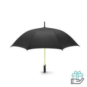 Luxe windbestendige paraplu pongee limegroen bedrukken