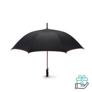 Luxe windbestendige paraplu pongee rood bedrukken