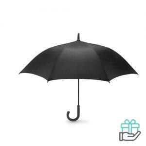 Luxe windbestendige paraplu pongee zwart bedrukken