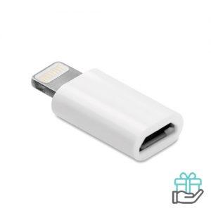 Micro USB adapter wit bedrukken