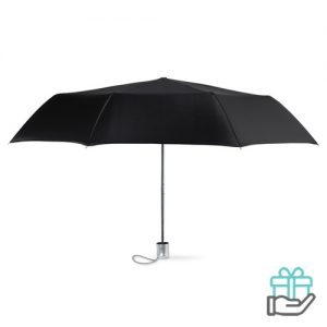 Mini damesparaplu zwart bedrukken