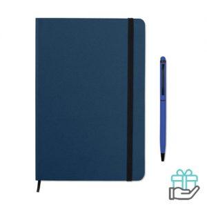 Notitieboekje A5 styluspen blauw bedrukken