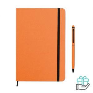 Notitieboekje A5 styluspen oranje bedrukken