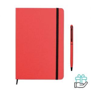 Notitieboekje A5 styluspen rood bedrukken