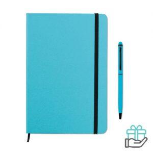 Notitieboekje A5 styluspen turquoise bedrukken