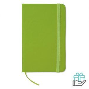 Notitieboekje A6 cover PU limegroen bedrukken