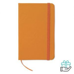 Notitieboekje A6 cover PU oranje bedrukken