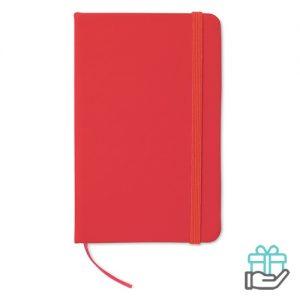 Notitieboekje A6 cover PU rood bedrukken