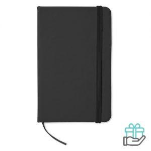 Notitieboekje A6 cover PU zwart bedrukken