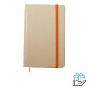 Notitieboekje A6 gerecycled oranje bedrukken