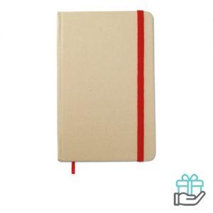 Notitieboekje A6 gerecycled rood bedrukken