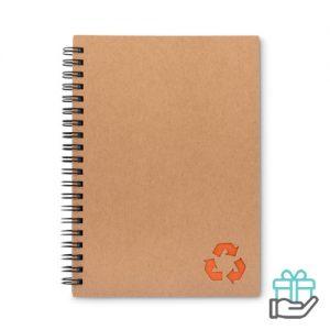 Notitieboekje ringband steenpapier oranje bedrukken