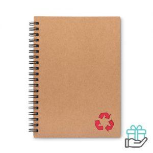 Notitieboekje ringband steenpapier rood bedrukken