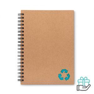Notitieboekje ringband steenpapier turquoise bedrukken