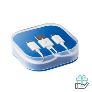 Oplaadkabel micro USB C koninklijk blauw bedrukken