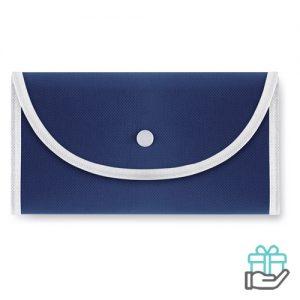 Opvouwbare boodschappentas drukknoop blauw bedrukken