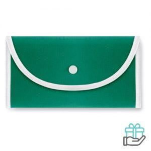 Opvouwbare boodschappentas drukknoop groen bedrukken