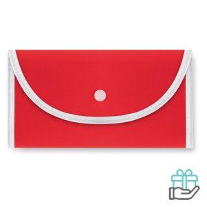 Opvouwbare boodschappentas drukknoop rood bedrukken