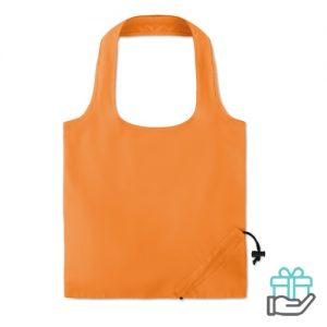 Opvouwbare katoenen tas korte hengsel oranje bedrukken