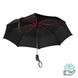 Opvouwbare paraplu gekleurde baleinen rood bedrukken