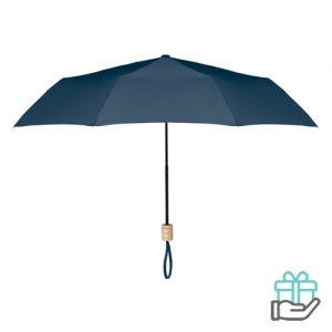 Opvouwbare paraplu pongee 21 inch blauw bedrukken