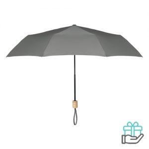 Opvouwbare paraplu pongee 21 inch grijs bedrukken
