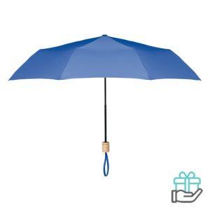 Opvouwbare paraplu pongee 21 inch koninklijk blauw bedrukken