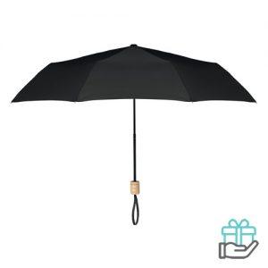 Opvouwbare paraplu pongee 21 inch zwart bedrukken