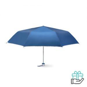 Opvouwbare paraplu zilveren binnenzijde blauw bedrukken