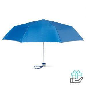 Opvouwbare paraplu zilveren binnenzijde koninklijk blauw bedrukken
