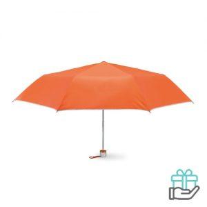 Opvouwbare paraplu zilveren binnenzijde oranje bedrukken