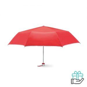 Opvouwbare paraplu zilveren binnenzijde rood bedrukken