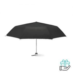 Opvouwbare paraplu zilveren binnenzijde zwart bedrukken