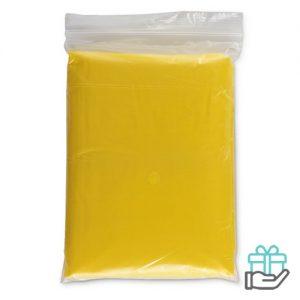 Opvouwbare regenponcho geel bedrukken