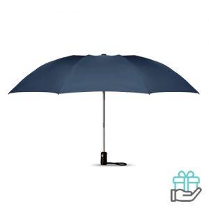 Opvouwbare reversible paraplu automatisch blauw bedrukken