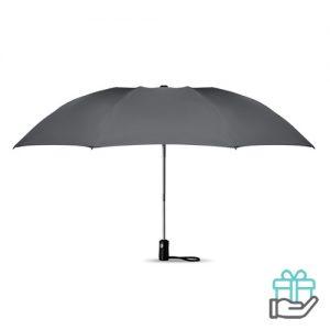 Opvouwbare reversible paraplu automatisch grijs bedrukken