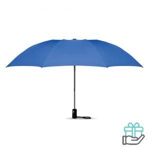 Opvouwbare reversible paraplu automatisch koninklijk blauw bedrukken