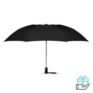 Opvouwbare reversible paraplu automatisch zwart bedrukken