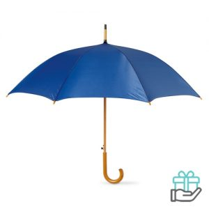 Paraplu automatisch houten handvat blauw bedrukken