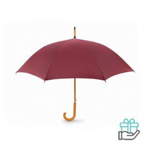 Paraplu automatisch houten handvat bordeaux bedrukken