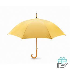 Paraplu automatisch houten handvat geel bedrukken