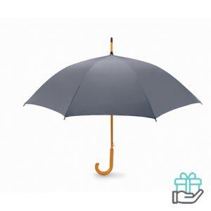 Paraplu automatisch houten handvat grijs bedrukken