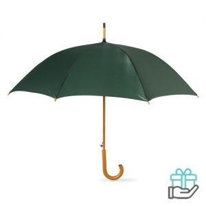 Paraplu automatisch houten handvat groen bedrukken