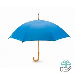 Paraplu automatisch houten handvat koninklijk blauw bedrukken