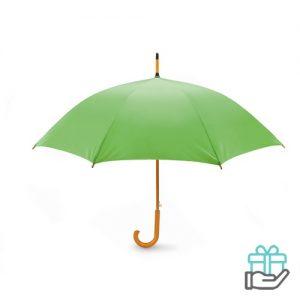 Paraplu automatisch houten handvat limegroen bedrukken