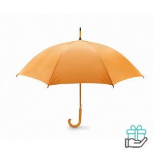 Paraplu automatisch houten handvat oranje bedrukken